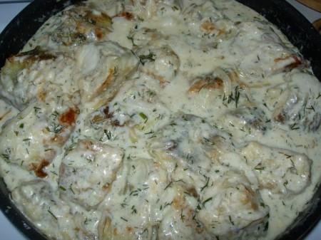Салат из запеченных овощей под крем-соусом – кулинарный рецепт